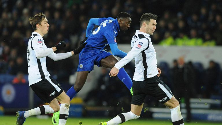 Leicester's Wilfred Ndidi scores against Derby