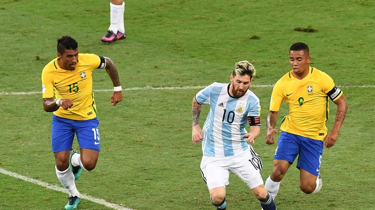 Lionel Messi and Gabriel Jesus in action during the Argentina v Brazil World Cup qualifier in Belo Horizonte last November