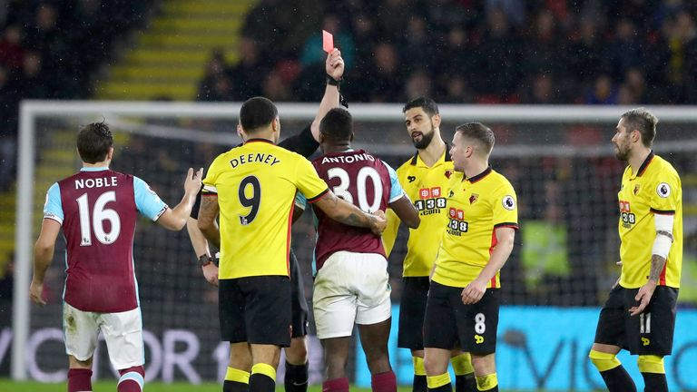Michail Antonio was dismissed for two bookable offences