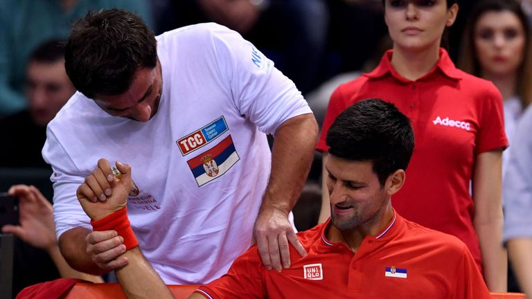 Djokovic needed treatment on his right shoulder during the tie