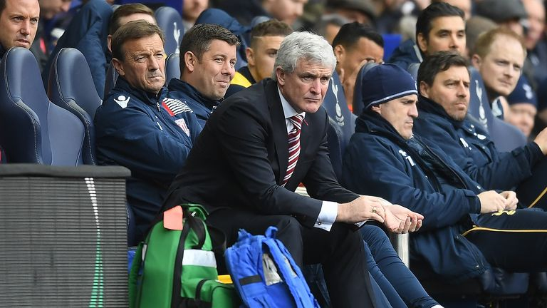 Mark Hughes was critical of Stoke's display at Spurs
