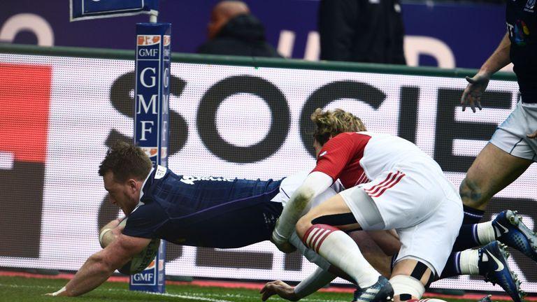 Scotland's full-back Stuart Hogg scored the first try of the match