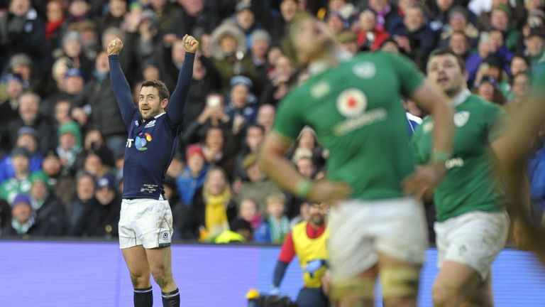 Greig Laidlaw celebrates after clinching victory against Ireland