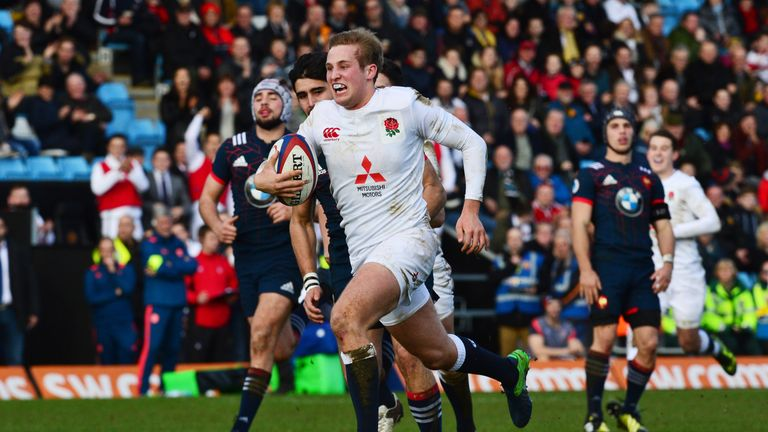 Max Malins scored two tries in England's U20s crushing of France