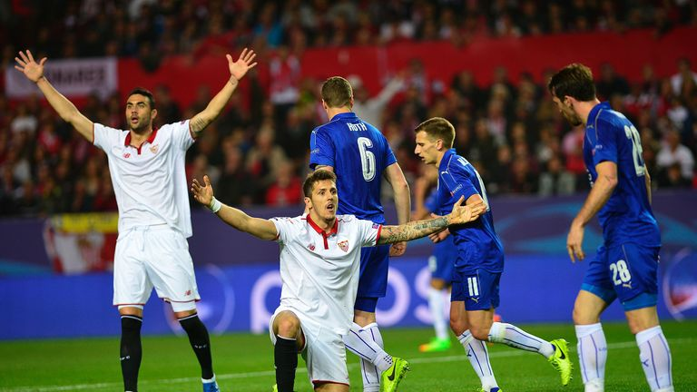 Iborra (left) impressed for Sevilla against Leicester in the Champions League