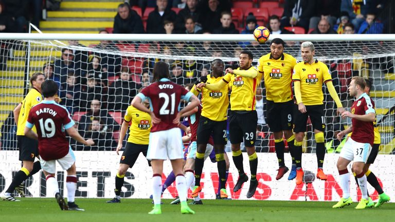 Joey Barton came close to scoring with a free-kick