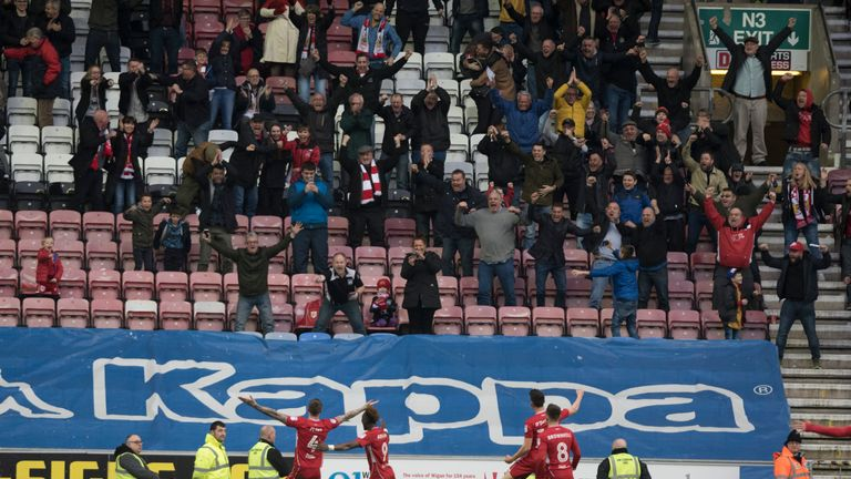 Aden Flint sends the travelling Bristol City fans into raptures with his late winner at the DW Stadium