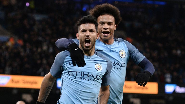 Sergio Aguero netted a double in City's 5-1 win