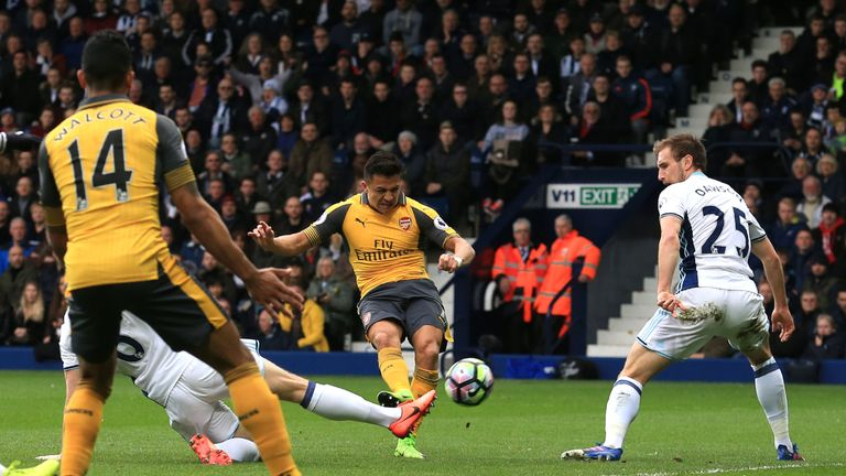 Alexis Sanchez scores Arsenal's only goal at the Hawthorns