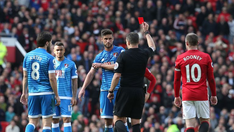 Andrew Surman is shown a red card by referee Kevin Friend