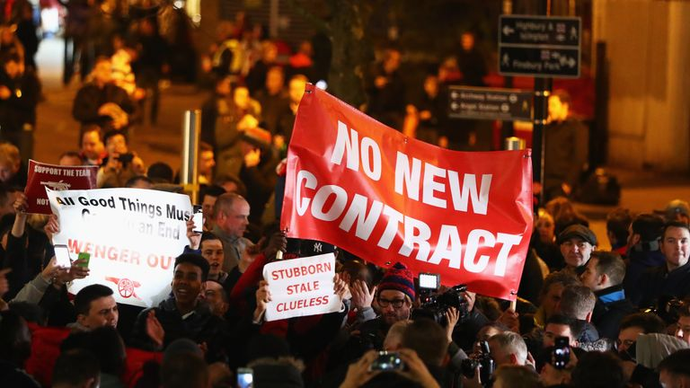 A small group of Arsenal fans marched in protest against Arsene Wenger before kick-off against Bayern Munich