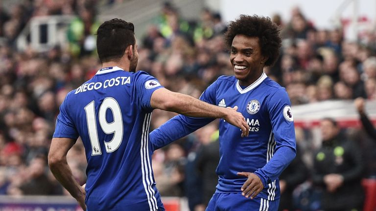 Diego Costa congratulates Willian after his goal for Chelsea