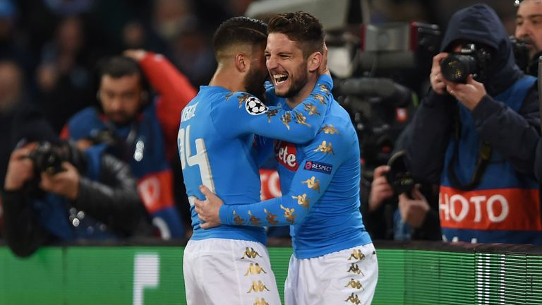 Dries Mertens celebrates after scoring for Napoli against Real Madrid