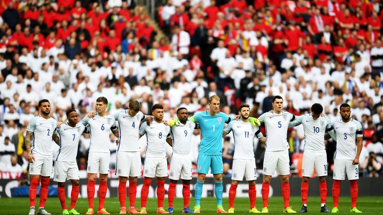 England and Lithuania observed a minute's silence to remember the victims of the Westminster attack, while a wreath was laid at Wembley