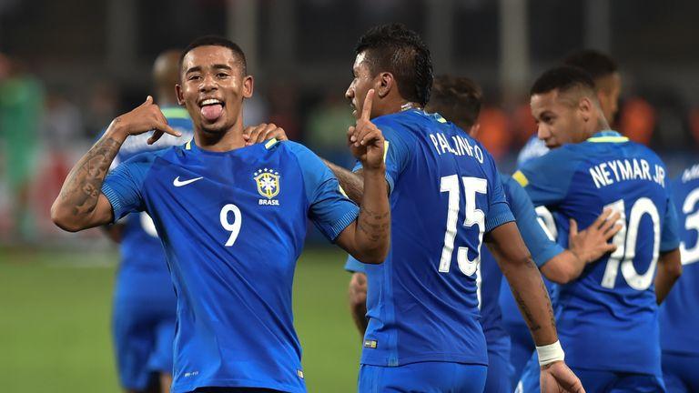Brazil's Gabriel Jesus (left) celebrates after scoring against Peru