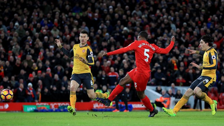 Georginio Wijnaldum scores Liverpool's third goal in injury time