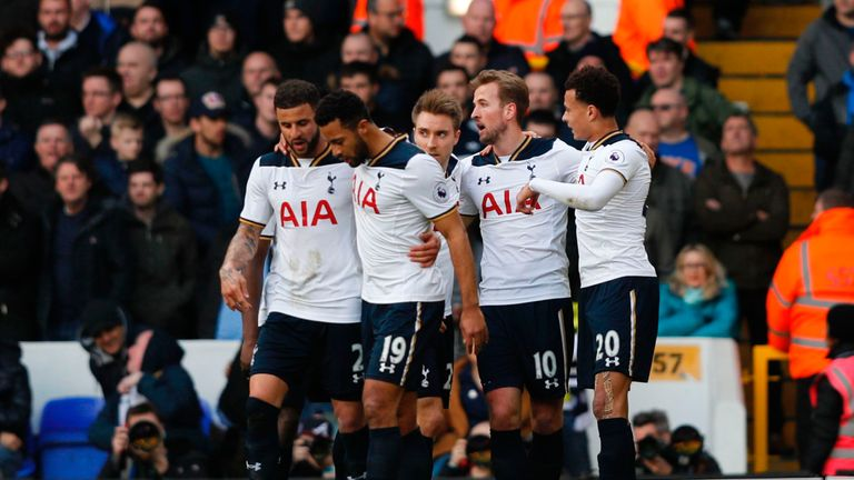 Tottenham players celebrate the opener at White Hart Lane