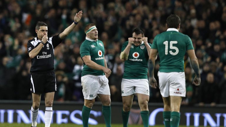Ireland's players celebrate their victory over England in their final 2017 Six Nations match last Saturday