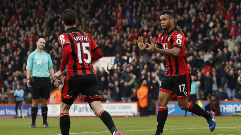 Josh King (right) celebrates after giving his side a 2-1 lead against West Ham