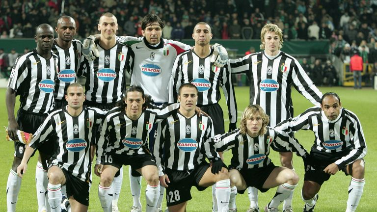 Thuram, Ibrahimovic, Nedved and Cannavaro playing for Juventus in 2006