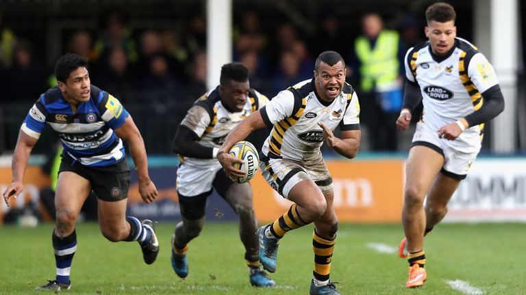 Kurtley Beale scored two tries in the victory that sees Wasps consolidate their place at at the top of the Aviva Premiership table