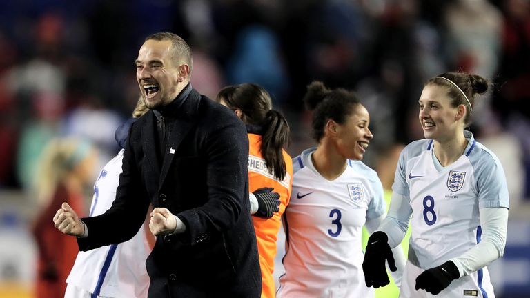 Mark Sampson of England celebrates victory over the United States during the SheBelieves Cup
