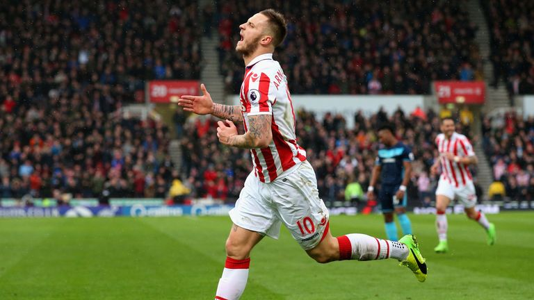 Marko Arnautovic wheels away after taking his Premier League tally to five