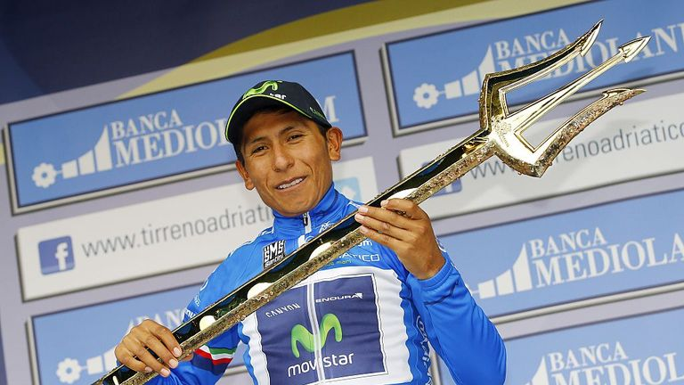 Nairo Quintana poses with the Sea Master trophy after winning Tirreno-Adriatico
