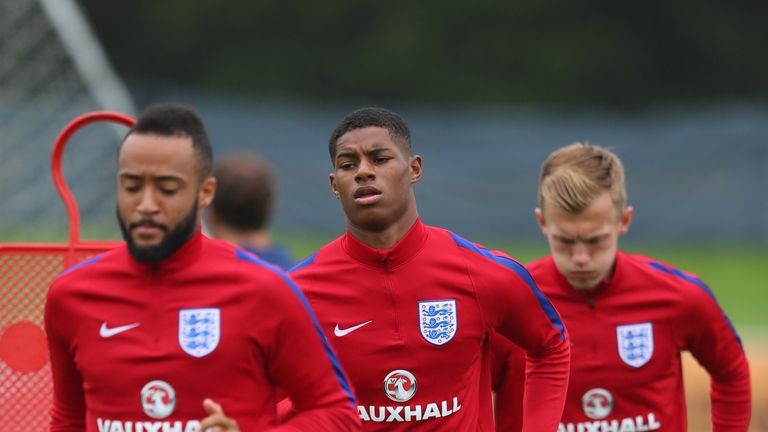 Former England U21 team-mates Nathan Redmond (left), Marcus Rashford (centre) and James Ward-Prowse are all in the senior squad