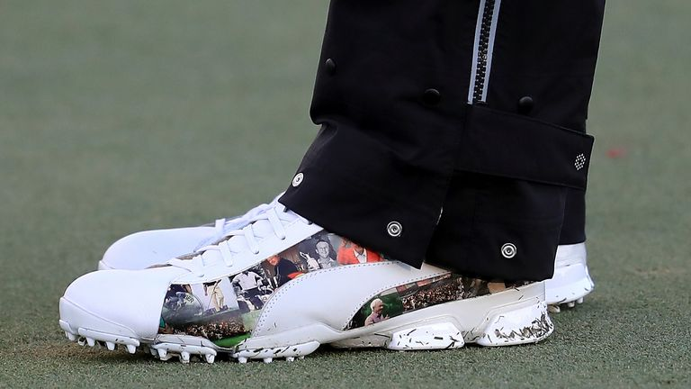 Fowler was seen wearing the specially-created footwear during Wednesday's Pro-Am