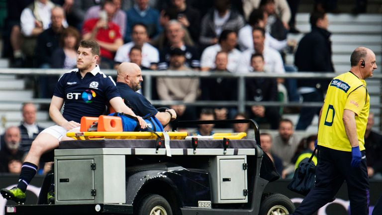 Scotland backs Stuart Hogg and Mark Bennett (pictured) were both injured in the first half
