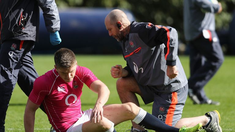 Owen Farrell required attention on his left knee during Thursday's training session