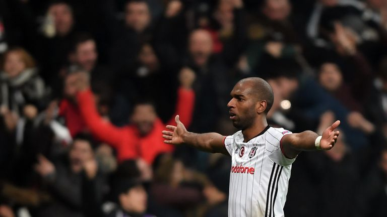 Ryan Babel celebrates his goal for Besiktas in the Europa League