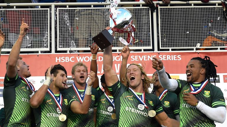 South Africa celebrate their fourth Sevens World Series victory of the season