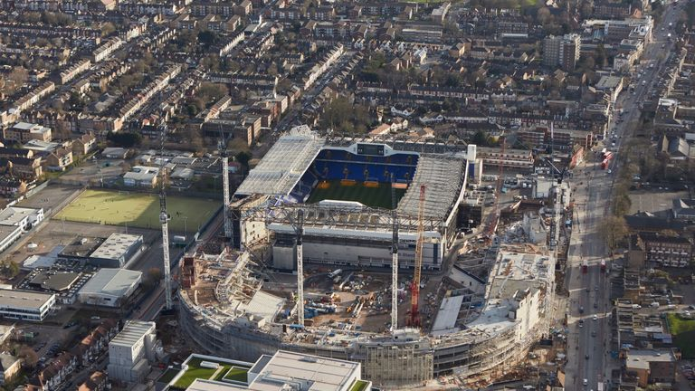 Tottenham's new stadium is progressing well adjacent to White Hart Lane