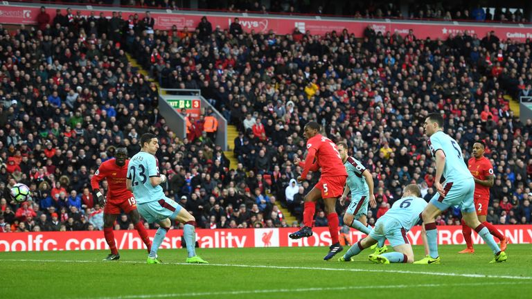Georginio Wijnaldum stayed calm in the area to equalise for Liverpool