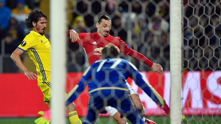 Zlatan Ibrahimovic pulls the ball back for Henrikh Mkhitaryan to fire Man Utd into a 35th-minute lead in Rostov