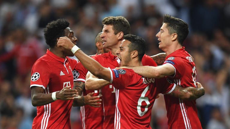 Bayern celebrate scoring against Real