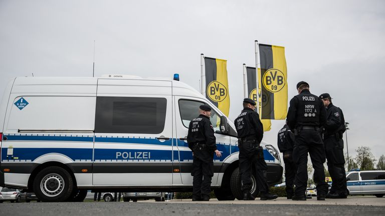 There was a heavy police presence around Dortmund on Wednesday