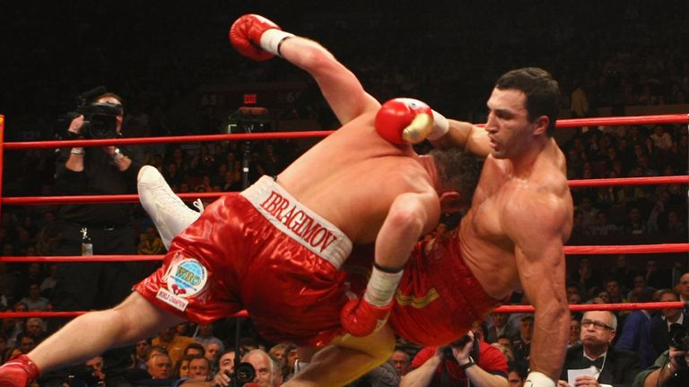 Wladimir Klitschko and Sultan Ibragimov fall to the canvas in 2008