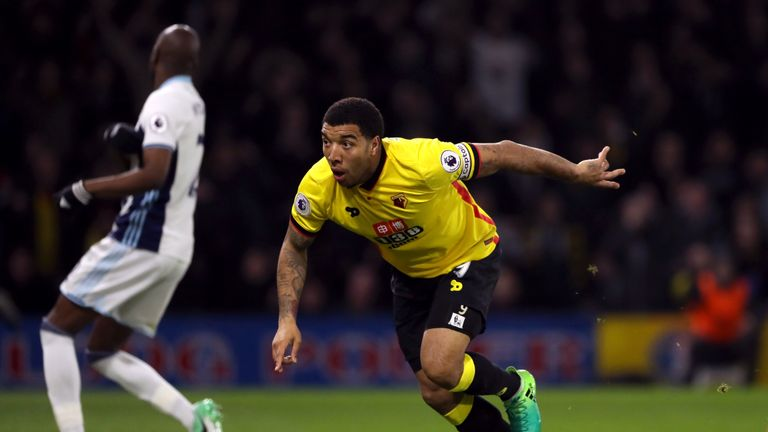 Deeney wheels away after putting Watford 2-0 up against West Brom