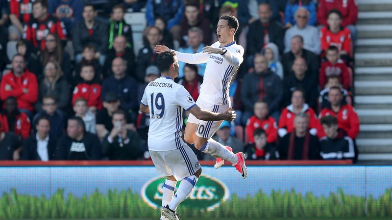Eden Hazard celebrates with team-mate Diego Costa