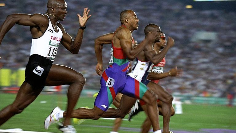 Frankie Fredericks (blue) picked up one of his silver in the 1996 Olympic 100m final