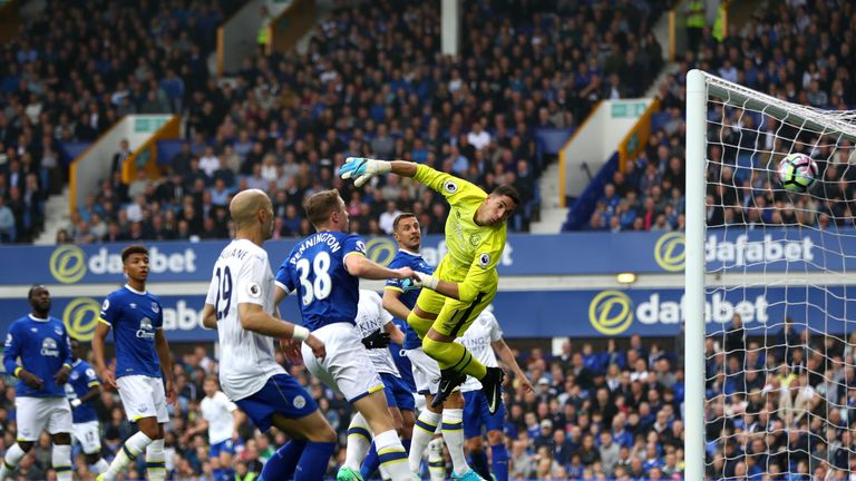 Joel Robles watches Marc Albrighton's free-kick fly into the top corner to put Leicester ahead