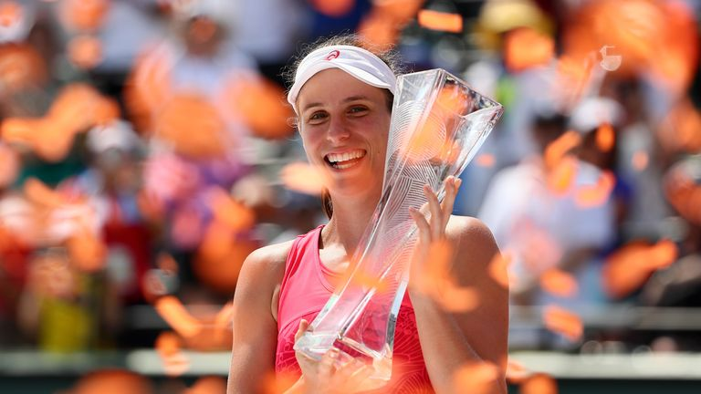 Johanna Konta claimed the biggest title of her career when she beat Caroline Wozniacki in the Miami Open final in April
