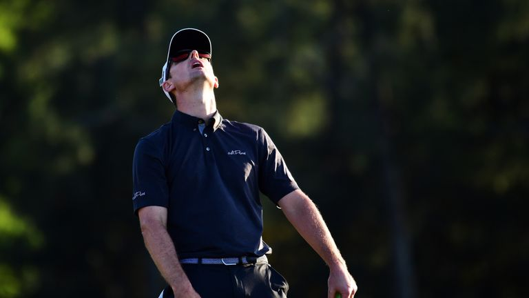 Rose reacts to his missed birdie putt on the 18th hole during the final round