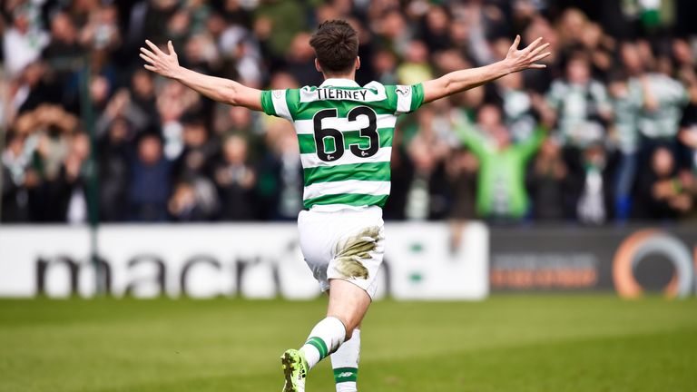Kieran Tierney celebrates scoring the opening goal in Dingwall