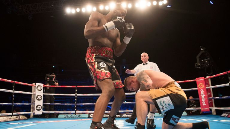 Okolie put Lukas Rusiewicz down twice before the clinical finish
