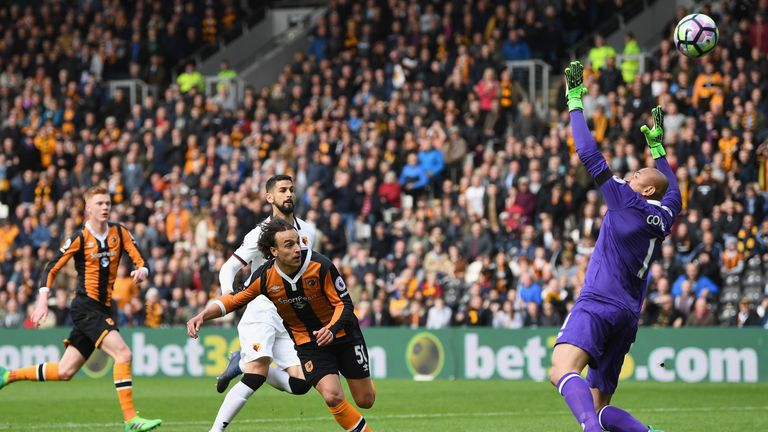 Lazar Markovic scores for Hull at home to Watford who were beaten 2-0 - seven days after the Hornets had reached 40 points for the season