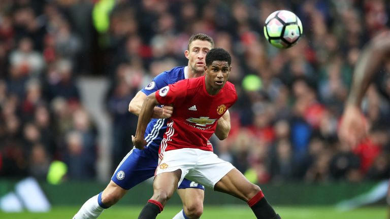 Gary Cahill and Marcus Rashford in action at Old Trafford